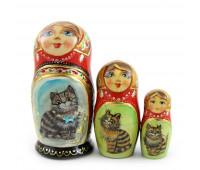 """Русская матрешка """"Коты"""", 3 места"""