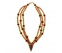 Amber necklace, cognac amber, aventurine