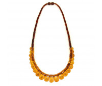 Amber necklace, cognac amber, carving