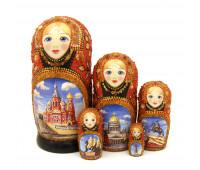 "Amber Matryoshka ""Saint-Petersburg"", 5 pieces (Russian Babushka doll)"