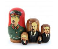 """Матрешка """"Политики России и СССР"""": Ленин Сталин Горбачев Ельцин Путин, 5 мест"""