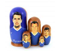"""Matryoshka """"Zenit soccer team"""", 5 pieces (Russian Babushka doll)"""