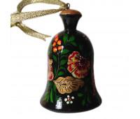 Колокольчик деревянный расписной, цветочный мотив