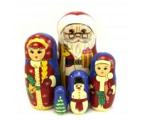 "Матрешка ""Дед-мороз, снегурочка, снеговик"", 5 мест"