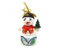 """Деревянная игрушка на елку """"Снеговик"""""""