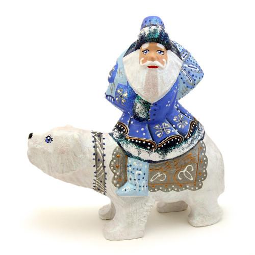 Резной Дед Мороз на белом медведе