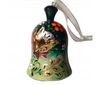 Деревянный расписной колокольчик с цветами