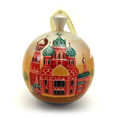 """Деревянный расписной шар """"Виды города"""""""
