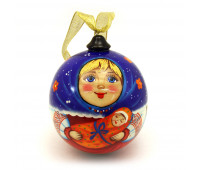 """Hand-painted wooden ball """"Cute face"""""""