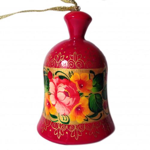 Колокольчик деревянный расписной с цветами