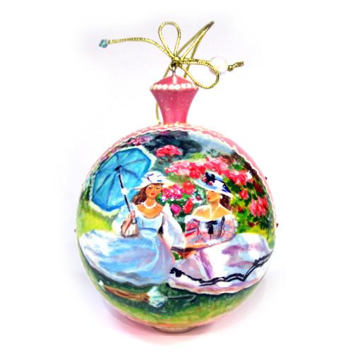 """Деревянный расписной шар """"Дамы на пикнике"""""""
