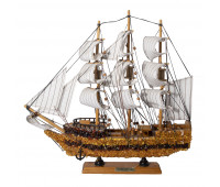 Ship with amber decoration, 35 cm