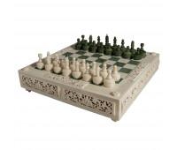 Шахматы мамонтовая кость, малахит