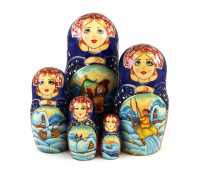 "Matryoshka ""By pike's command"", 5 pieces (Stacking doll)"