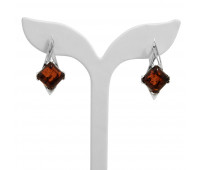 Genuine Baltic amber earrings, brown amber, 5,32 gr, silver 925