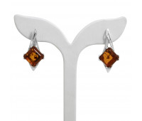 Genuine Baltic amber earrings, brown amber, 5.3 gr, silver 925