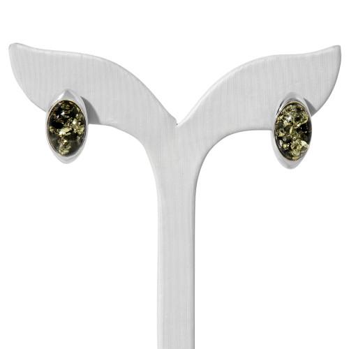 Серьги зеленый янтарь серебро 925