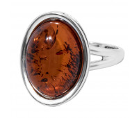 Genuine Baltic amber ring, brown amber, 3.75 gr, silver 925