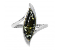 Genuine Baltic amber ring, green amber, 2.23 gr, silver 925