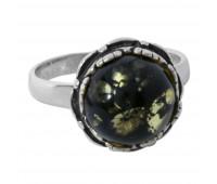 Кольцо зеленый янтарь серебро 925