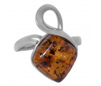 Genuine Baltic amber ring, brown amber, 3.03 gr, silver 925
