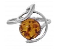 Genuine Baltic amber ring, brown amber, 2.71 gr, silver 925