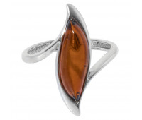 Genuine Baltic amber ring, brown amber, 2.22 gr, silver 925