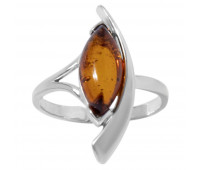 Genuine Baltic amber ring, brown amber, 2.29 gr, silver 925