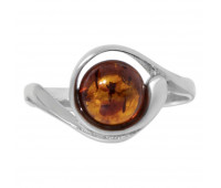 Genuine Baltic amber ring, brown amber, 2.33 gr, silver 925