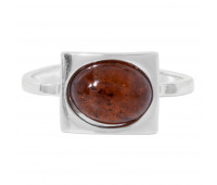 Genuine Baltic amber ring, brown amber, 2.66 gr, silver 925