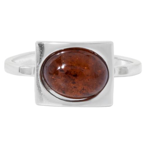 Кольцо коньячный янтарь серебро 925