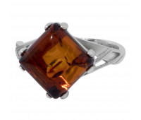 Genuine Baltic amber ring, brown amber, 2.79 gr, silver 925