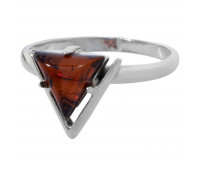 Genuine Baltic amber ring, brown amber, 2.15 gr, silver 925