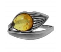 Кольцо медовый янтарь серебро 925