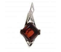 Genuine Baltic amber pendant, brown amber,2.72 gr, silver 925