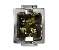Genuine Baltic amber pendant, green amber, 2.02 gr, silver 925