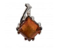 Кулон коньячный янтарь серебро 925