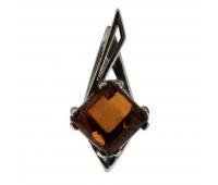 Genuine Baltic amber pendant, brown amber, 2.73 gr, silver 925