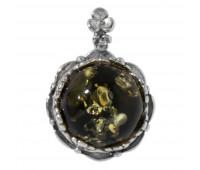 Кулон зеленый янтарь серебро 925