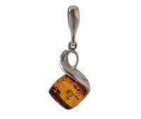 Genuine Baltic amber pendant, brown amber, 2.47 gr, silver 925