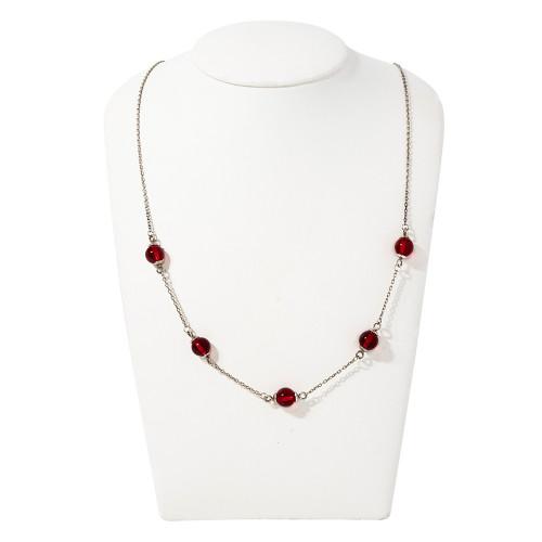 Колье красный янтарь серебро 925