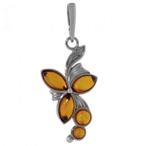 Кулон медовый янтарь серебро 925