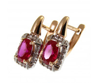 Corundum earrings gold 585, 3.2 gr