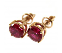 Corundum earrings gold 585, 1.9 gr