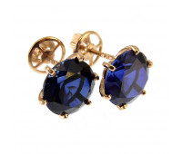 Corundum earrings gold 585, 3.34 gr