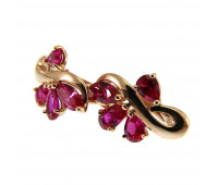 Corundum earrings gold 585, 2.45 gr