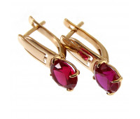 Corundum earrings gold 585, 3.3 gr