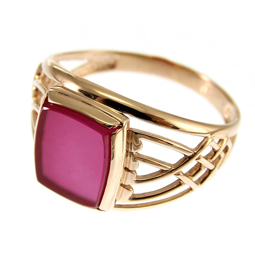 Corundum ring gold 585, 3.63 gr
