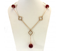 Corundum necklace gold 585, 11.06 gr