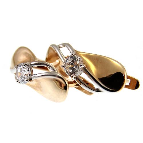 Серьги с фианитом золото 585
